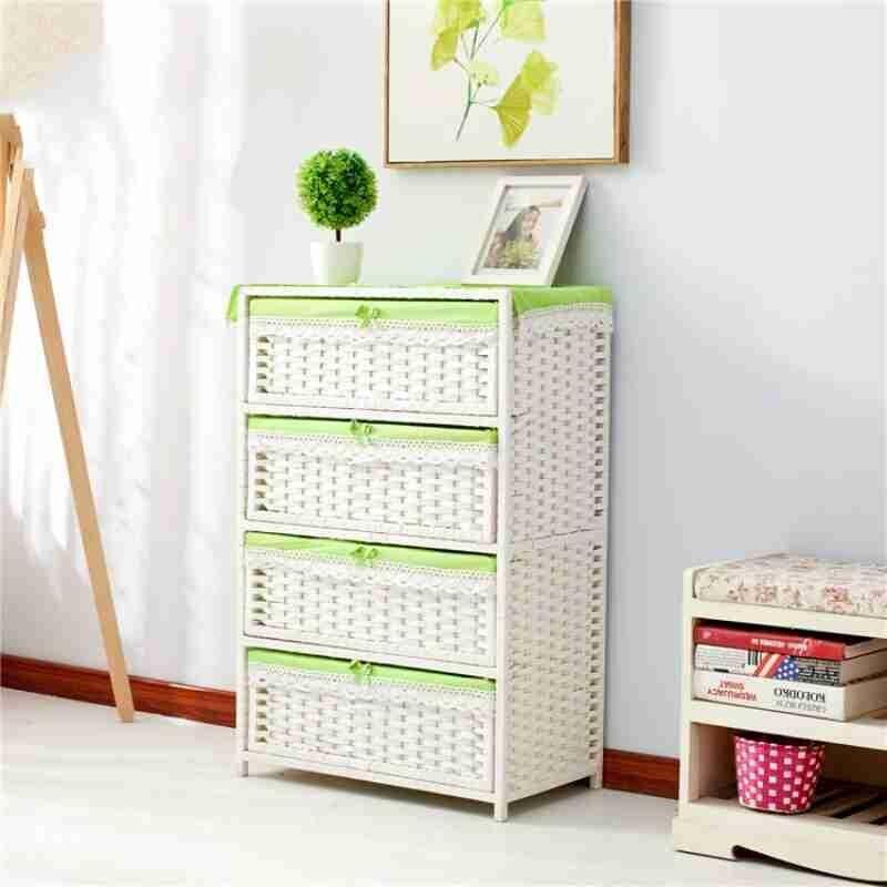 Соломенный тканый шкаф для хранения ящиков, прикроватный столик для сада, модная простая коробка для хранения детской одежды - 5