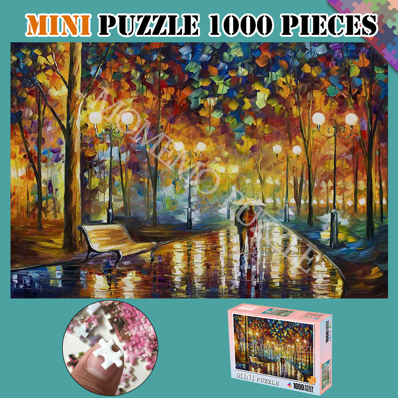 Puzzle Toys Mini 1000 Pieces Puzzles Romantic Rainy Night Wooden Beautiful Painting Jigsaw Puzzles For Adults Kids Nice Gifts