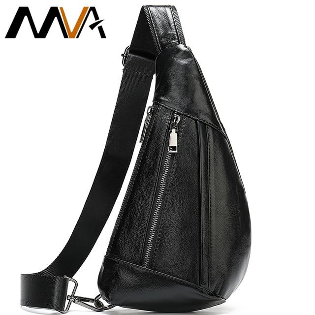 MVA Genuine Leather Bag Mens Crossbody Bag For Men Messenger Bags Men Leather Mens Shoulder/Chest Bags Small Chest Pack 7025