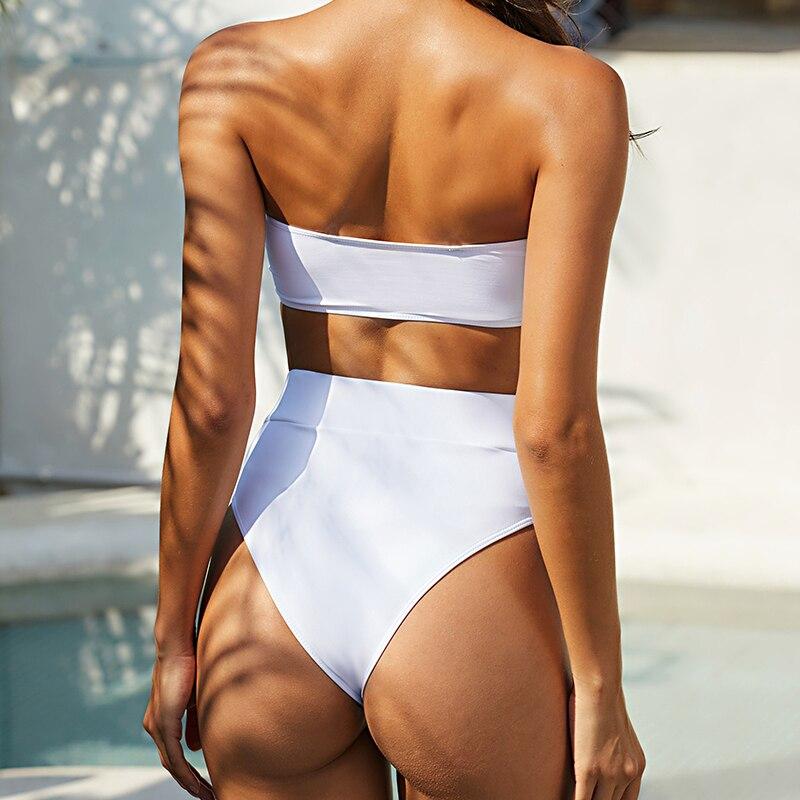 Mossha, белый женский купальник, бандо, бикини, 2020, Mujer, металлическая пряжка, пояс, женский купальник бикини, женский купальник 17