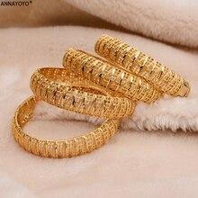 Annayoyo 4 шт. 24 К золотой браслет для женщин Дубай невесты свадьба Эфиопский браслет Африка браслет Арабские Ювелирные украшения