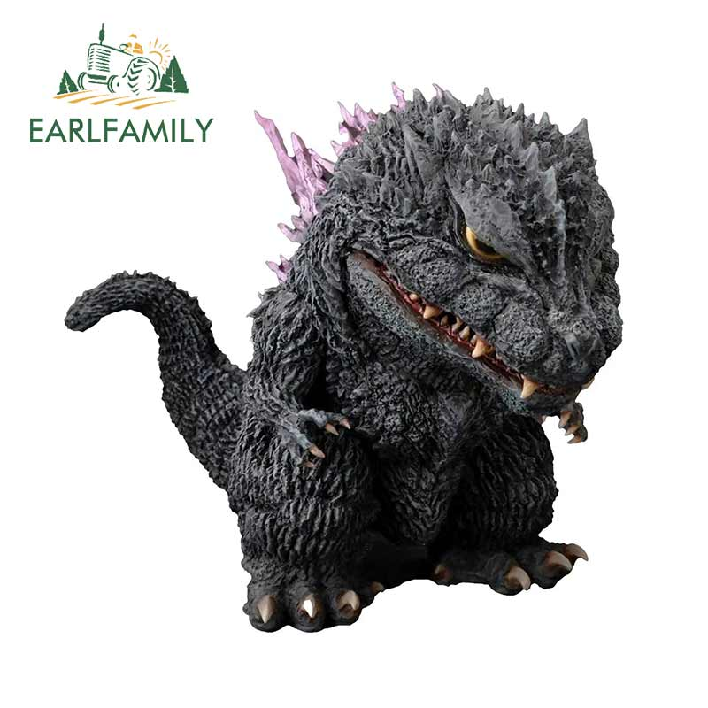 EARLFAMILY For Godzilla 2000 Defo Real Soft Vinyl Statue Motorcycle Windshield Car Stickers Car Accessories Laptop Decals