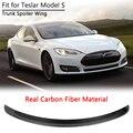Задний спойлер багажника крышка багажника крыло для Tesla Model S 2012-2019 Настоящее углеродное волокно глянцевый автомобильный Стайлинг внешние а...