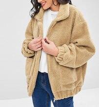 Женское пальто на молнии с длинным рукавом плюшевое зимнее Новое