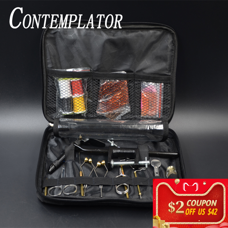 Full Fly Tying Tools Kit With Portable Bag Including VISE Bobbin Finisher Scissors Hackle Hair Stacker Flies Tying Tools Set