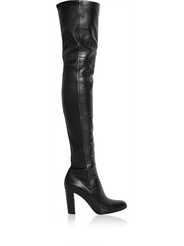 Black PU leather over the knee boots women pointed toe chunky heeled booties thick high heels tall winter long  gladiator boots