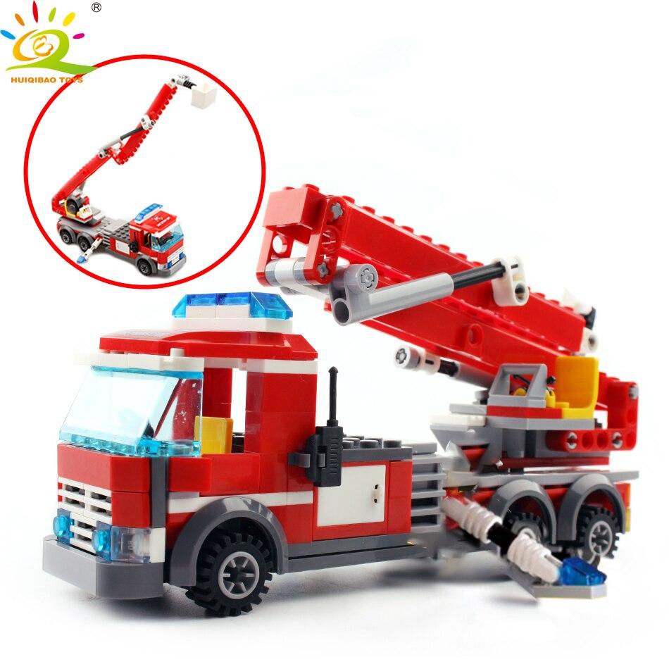 Игрушки 244 шт. DIY пожарный двигатель грузовик автомобили Строительные блоки город пожарный фигурки кирпичи для детей