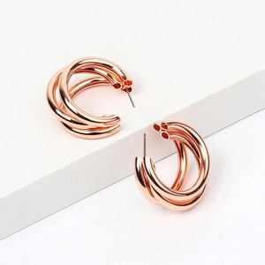 Image 4 - Multi Chunky Hoop Earrings for Women Small Rose Golden Color Metal Alloy Stud Earrings Eco friendly Materials 120 Pairs / Lot