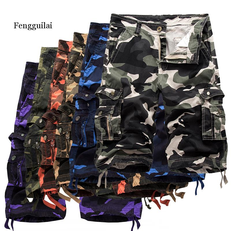 6 Colors 2020 Summer New Mens Casual Shorts Camouflage Cargo Male Loose Work Man Military Short Pants Plus Size 29-40