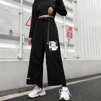 NiceMix S XXL casual summer ulzzang Korea Women's Clothing Harajuku loose letter print t shirts+Anime print wide leg pants two