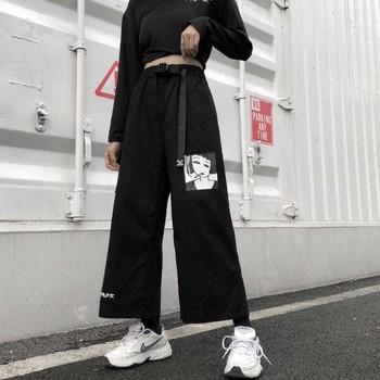 NiceMix S-XXL w stylu casual letnia ulzzang Korea odzież damska Harajuku luźne litery druku t-shirty + nadruk anime spodnie szerokie nogawki dwa tanie i dobre opinie Pełnej długości COTTON Poliester Elastyczny pas Plisowana 31740 Wysoka Kobiety Cartoon Na co dzień Suknem Proste Kieszenie