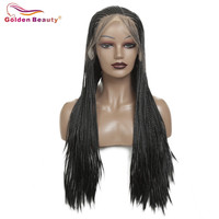 Braided Wig Long Black Lace Front Wig For Women Synthetic Hair Extension Box Braiding Hair Wig Heat Resisant Fiber Golden Beauty