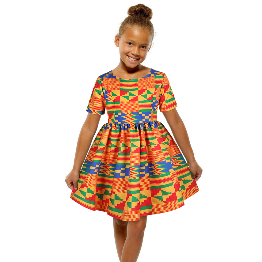 African Clothes 2020 Fashion Kids Dashiki Print 125-150CM Baby Girl Dress Ankara Style Princess Zipper African Dresses For Women