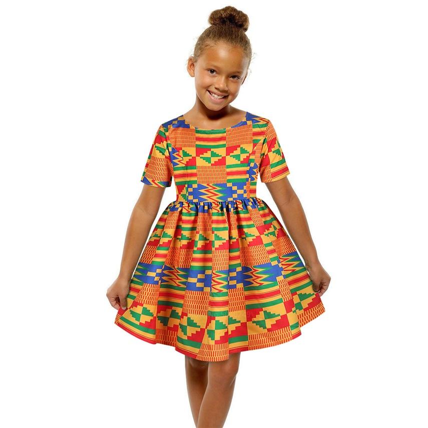 African Clothes 2020 Fashion Kids Dashiki Print 125-150CM Baby Girl Dress Ankara Style Princess Zipper African Dresses For Women