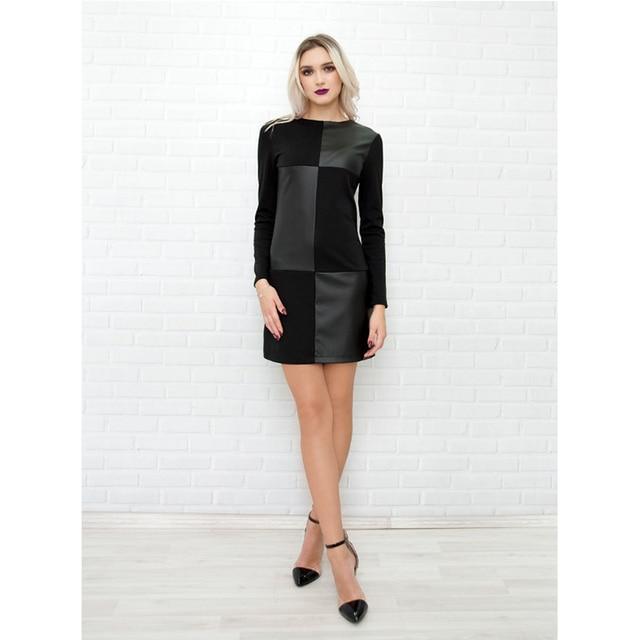 Women Vintage Leather Patchwork Elegant Office Dress 2