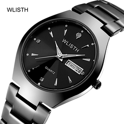 Waterproof quartz watch, business leisure, diamond light in the dark mens watch, double calendar, simple womens steel band Wat