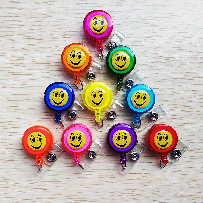 50 Pcs Cute Smile Expression Design Retractable Badge Reel ID Card Holder Badge Clip For 2019 New School Office Supplies