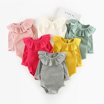 Śpioszki dziewczęce 0-2Y jesienno-zimowa noworodek ubranka dla dziewczynek z długim rękawem dla dzieci chłopcy kombinezon dla niemowląt chłopcy stroje ubrania tanie i dobre opinie Wutongshu COTTON Stałe Dziecko O-neck Jednego przycisku Pajacyki Unisex Pełna baby romper Pasuje prawda na wymiar weź swój normalny rozmiar