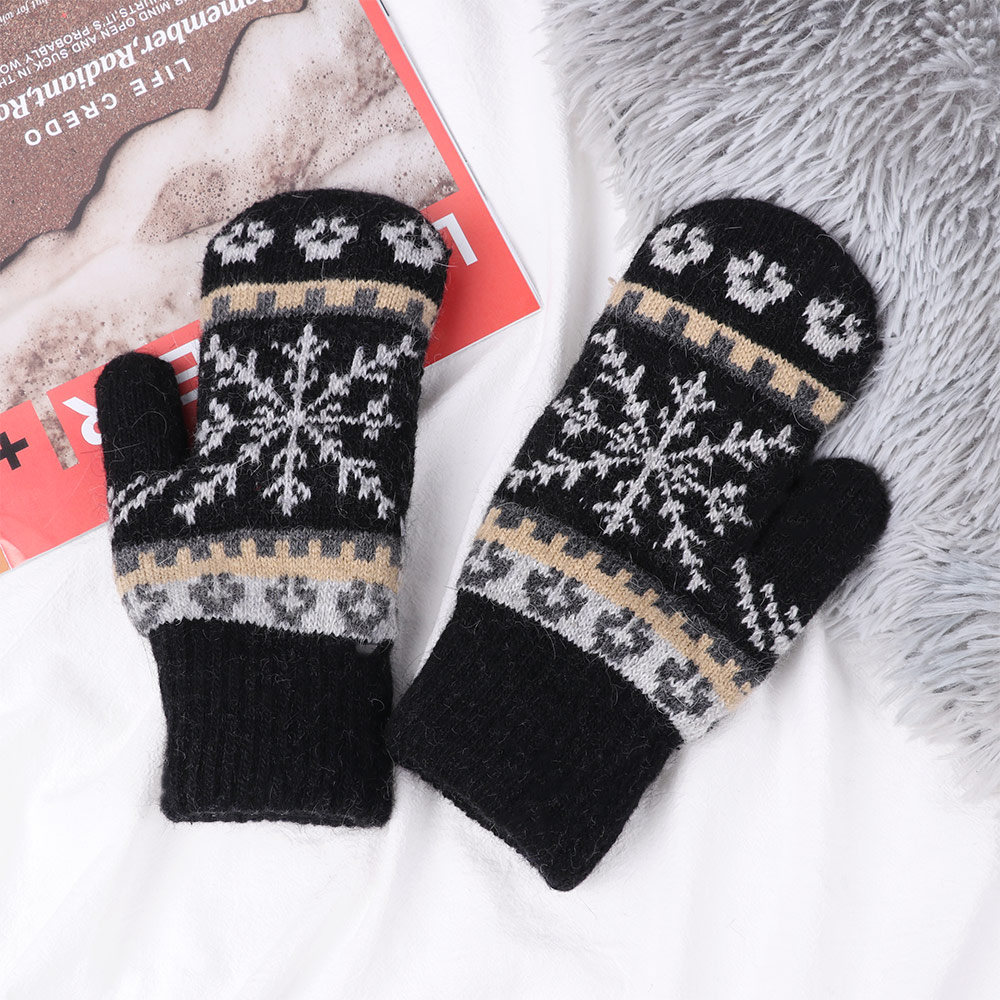 1Pair Fashion Women Girls Gloves Winter Knitted Warm Gloves Delicate Pattern Windproof Gloves Mittens For Outdoor Sport