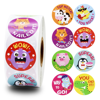 8 cute animal cartoon stickers 500pcs school teacher reward student stickers children toys collection scrapbook children sticker 500pcs animal reward stickers with 8 cute thank you stickers seal lables for kidsback to school gift kindergarten toys sticker
