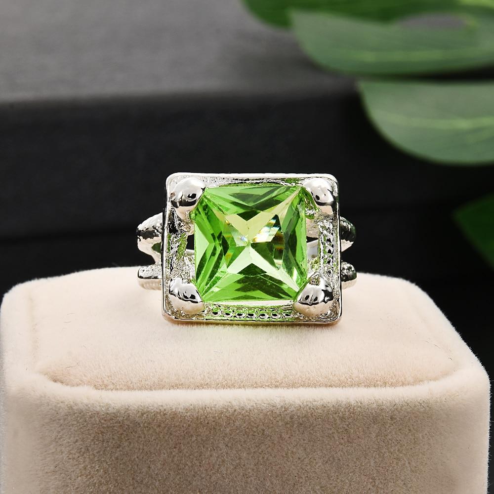 2019 New Women Lady Elegant Green Big Rhinestone Crystal Ring Hollow Wedding Engagement Rings Jewelry