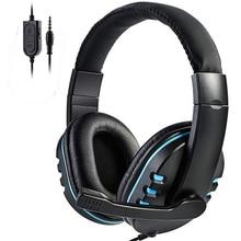 Auriculares estéreo para videojuegos, para Xbox one, PS4, PC, 3,5mm, con cable, por encima de la cabeza, con micrófono, Control de volumen