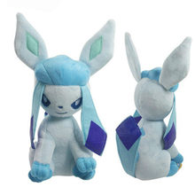 Glaceon Big Bright Anime Eevee Cartoon Figure Series Small Eyes Stuffed Animal Doll Plush Toy 15 CM(China)