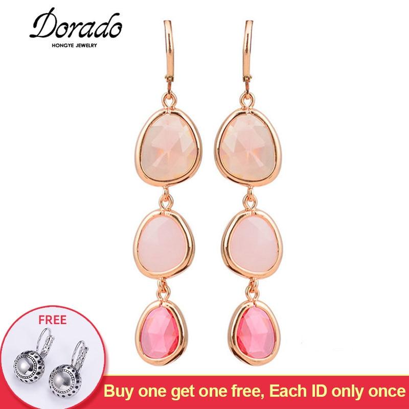 Resin Water Drop Long Earrings For Women Girls Gold Color Alloy Female Dangle Hanging Earring Fashion Ear Jewelry Brincos 2020