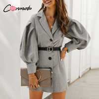 Conmoto grau OL elegante tasche blazer kleider frauen taste puff vintage kurze kleider feminino langarm dünnes kleid vestidos