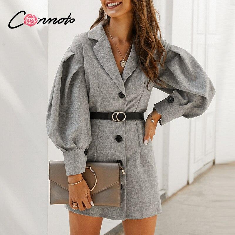 Conmoto Gray OL Elegant Pocket Blazer Dresses Women Button Puff Vintage Short Dresses Feminino Long Sleeve Slim Dress Vestidos