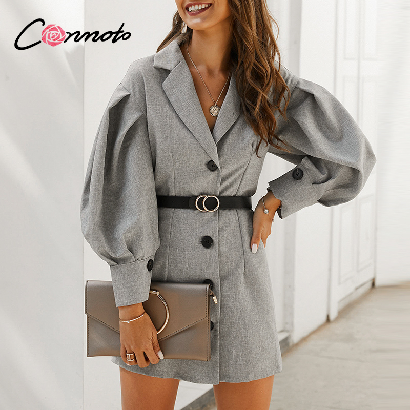 Conmoto gray OL elegant pocket blazer dresses women button puff vintage short dresses feminino long sleeve slim dress vestidos