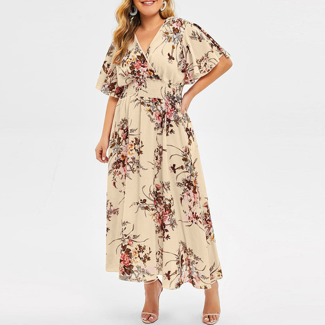 Plus Size Floral Printed V-Neck Short Sleeve Casual Dress 2