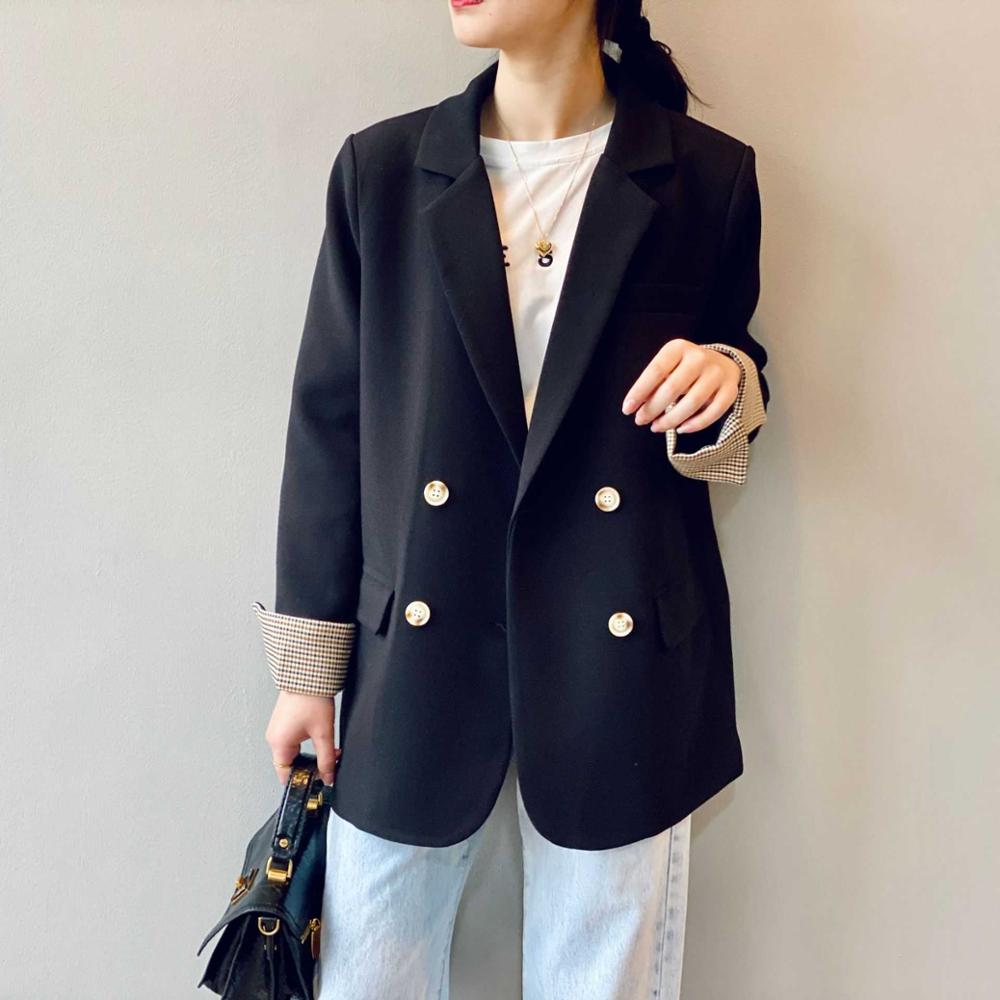 2020 New Women Blazer Long Sleeve Polyester Streetwear Double Breasted Lady Jacket with Pocket