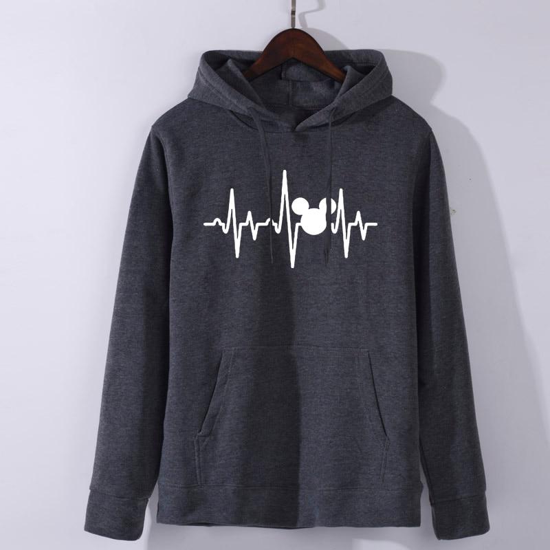 Hoodies Plus Size Mickey Hooded  Women Shirts Tops Graphic Hoodies Women Mickey Mouse Heartbeat Kawaii Sweatshirt XS-XL