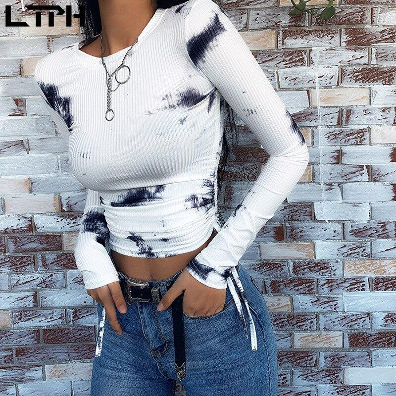 Hot Sale 2020 Spring New Women Shirts Fashion Casual Full Sleeves Round Neck Print Drawstring Sexy Dew Waist Slim Short Base Top