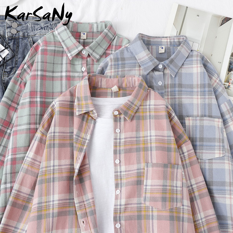 KarSaNy Boyfriend Oversized Shirt Plaid For Women Blouses And Tops Spring Loose Plaid Cotton Shirt For Women Boyfriend Shirts