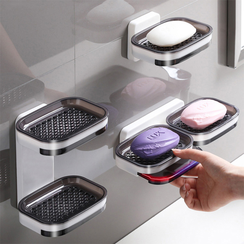 Double Layer Wall Mounted Soap Dishes Box Drain Sponge Holder Storage Rack For Bathroom Accessories Toiletries Organizer Kitchen