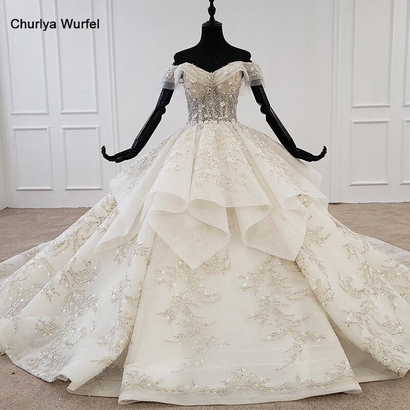HTL1271 2020 Bohemian Wedding Dress Off The Shoulder Short Sleeve Applique Sequin Flower Woman Wedding Dress Robe De Mariee New
