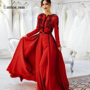 Bbonlinedress Moroccan Kaftan Red Evening Dresses Embroidery Appliques Long Dress Full Sleeve Arabic Muslim Party-Dress