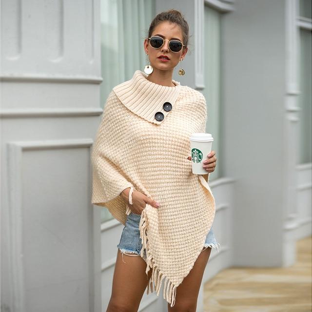Korean Style Women Winter Furry Soft Loose Casual Tassel Cape Overcoat Knitted Sweater 4