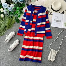 Amolapha 2019 Autumn Winter Women Striped Single Button Knit Cardigans Jacket+Sleeveless Dresses 2 Pieces Knitted Clothing Set(China)