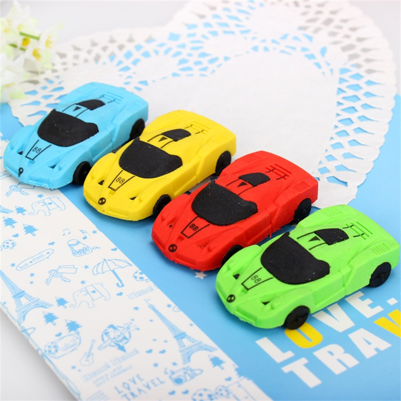 4pcs Cute Car Styling Designer Students Pen Shape Eraser Rubber Stationery Kid  Creative Gifts Toy School Supplies