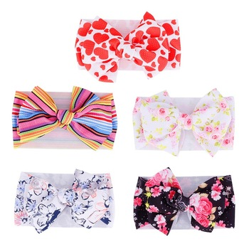 1Pc Baby Girls Big Bow Headband Stylish Floral Printed Headwrap Large Bowknot Hair Children Toddler Turban DIY Hair Accessories diy girls grosgrain ribbon bow headband kids head bands headdress big bowknot ties headwrap hair accessories newborn baby turban