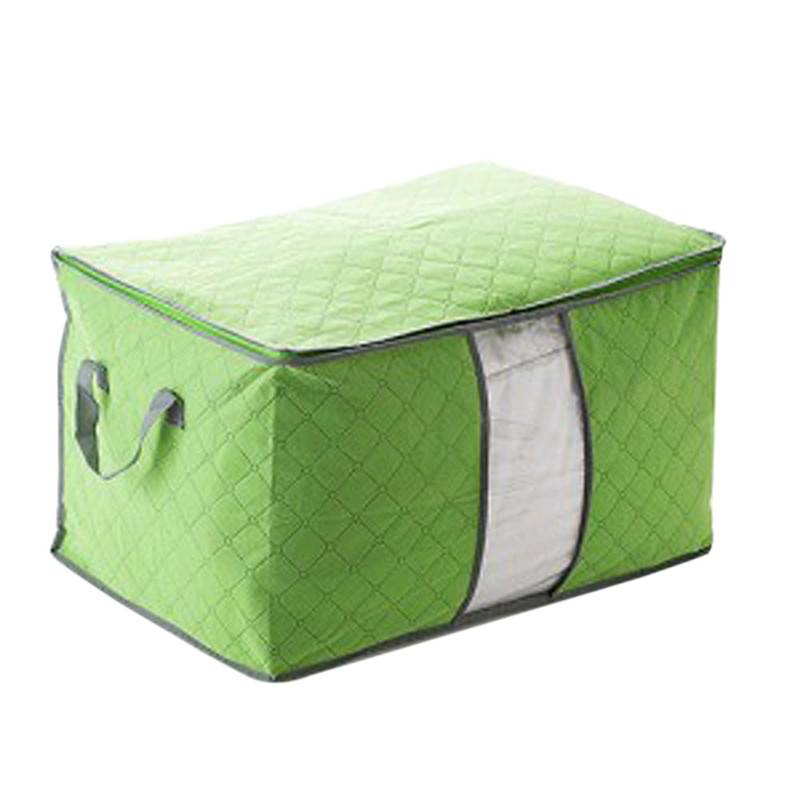 Non Woven Fabric Folding Storage Box Dirty Clothes Collecting Case With Zipper For Toys Quilt Storage Box Clear Window Organizer - Цвет: 60x42x36cm Green