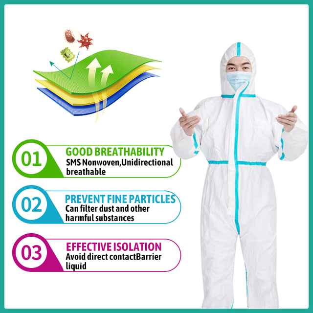 Professional Disposable Isolation Protective Clothing ppe protection suit  Coverall Hazmat Suit Protection 1