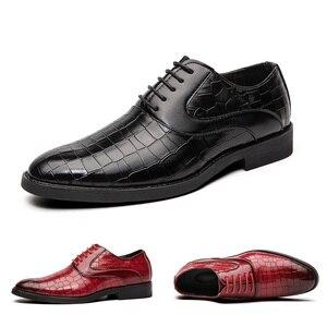 Image 1 - Męskie buty sukienka Gentleman Business Paty skórzane buty ślubne płaskie buty męskie skórzane oksfordzie formalne buty
