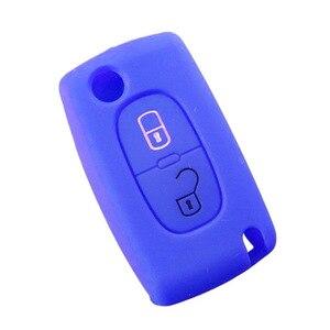 Image 5 - 2 boutons Silicone clé de voiture couvre étui pour PEUGEOT 207 307 308 407 408 pour Citroen C3 C4 C4L C5 C6 housse de protection