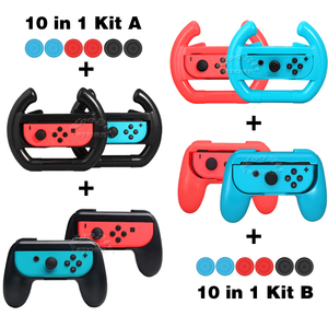 10 in 1 Nintend Switch Accessories Kit 2 Racing Steering Wheel 2 Handle Grip 6 Joycon Silicone Caps for Nintendoswitch Joy-con