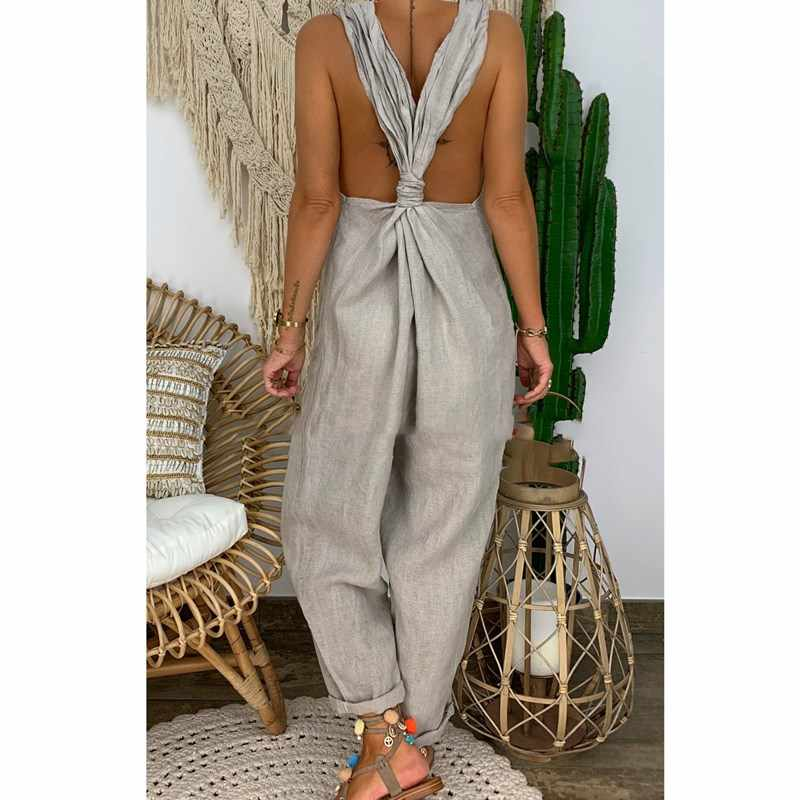 Mode 2019 Sommer Frauen Casual Lose Baumwolle Leinen Overall Sleeveless Backless Overall Hosen Overalls