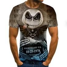 Camiseta de manga curta com estampa de caveira de verão para homem novo camiseta de impressão 3d casual